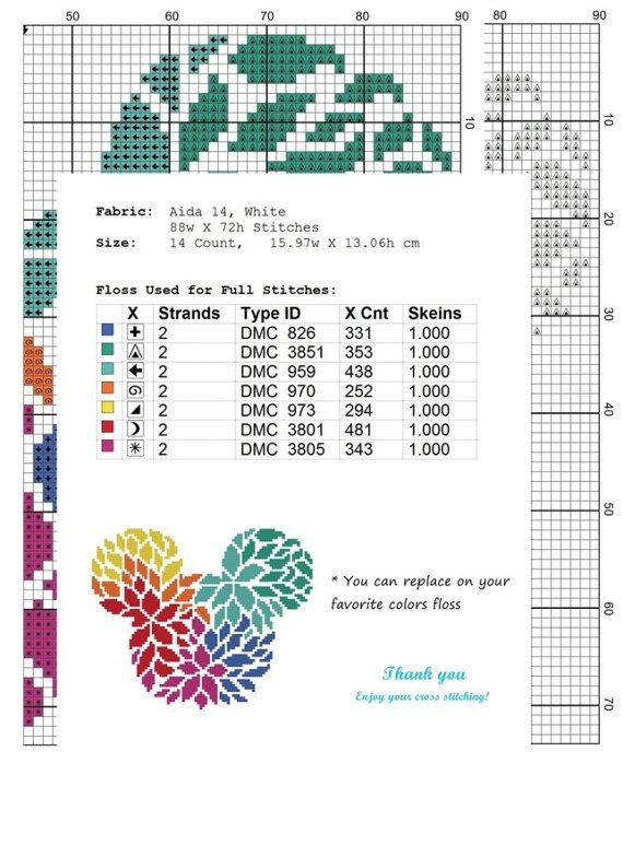 Unique Mickey Minnie Cross Stitch Pattern Floral Disney cross