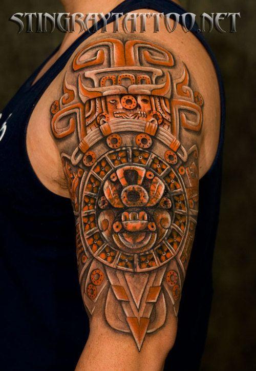posts half sleeve aztec tattoo design for men aztec half sleeve tattoo ...