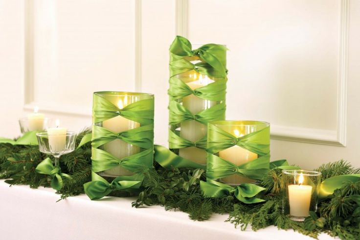 Fascinating Christmas Banquet Table Decoration Ideas: Cool Christmas Banquet Table Decoration Ideas Beauty Green Candle Holders And Trees For Christmas And New Years Eve Decoration Ideas ~ aureasf.com Holiday Decoration Inspiration