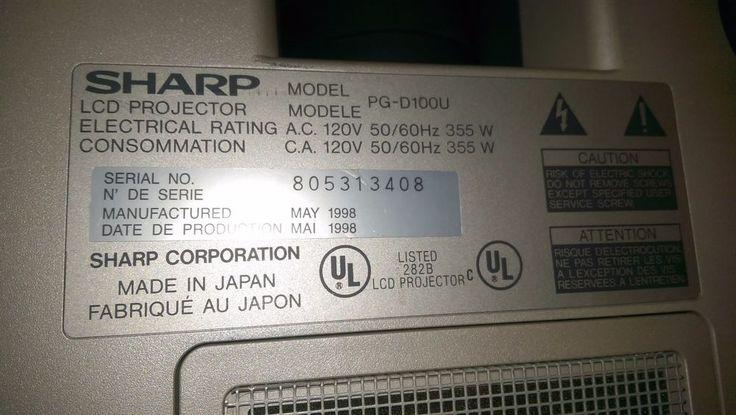 Sharp,computer's,Projector,needs bulb,model pgd100-u,good cnd,parts, fix,mustsee