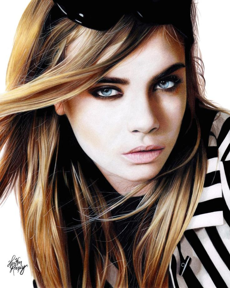 Colored pencil drawing of Cara Delevingne