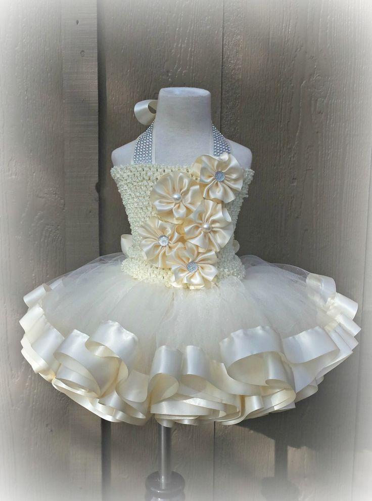 Ivory Flower Girl Tutu Dress 12M-3T. Ribbon Trimmed Tutu Set. Handmade Satin Flowers. Lined Tutu Top. Large Satin Bow. Matching Headband. by CutieCakesTutus on Etsy
