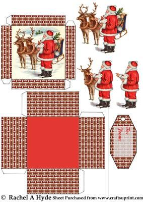 Santa With Reindeer Box on Craftsuprint designed by Rachel A Hyde - Santa is feeding two of his reindeer on the lid of this gift box. Build up the layers and add the special tag! - Now available for download!