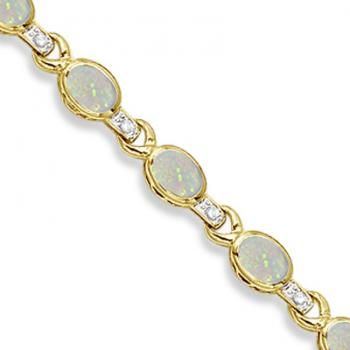 Oval Opal & Diamond Link Bracelet 14k Yellow Gold (9.62ctw) - Allurez.com