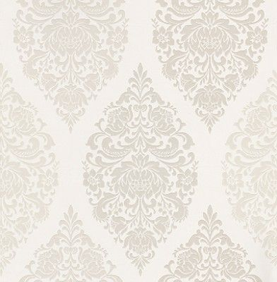 Loriana Chalk (1612/076) - Prestigious Wallpapers - A wallpaper design with an all over damask motif in various colours. Shown here in various shades of chalk and beige. Other colourways are available. Please request a sample for a true colour match. Paste-the-wall product.
