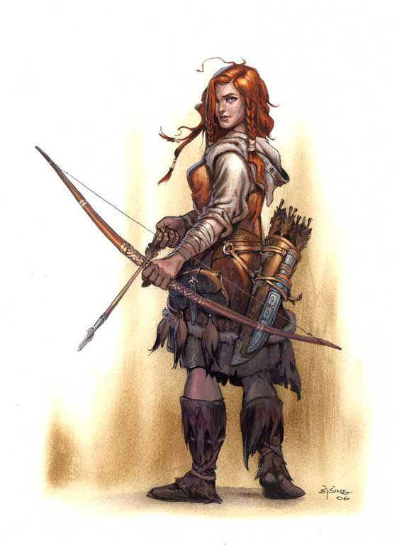 Archer by Jesper Ejsing female ranger human halfling armor clothes clothing fashion player character npc | Create your own roleplaying game material w/ RPG Bard: www.rpgbard.com | Writing inspiration for Dungeons and Dragons DND D&D Pathfinder PFRPG Warhammer 40k Star Wars Shadowrun Call of Cthulhu Lord of the Rings LoTR + d20 fantasy science fiction scifi horror design | Not Trusty Sword art: click artwork for source