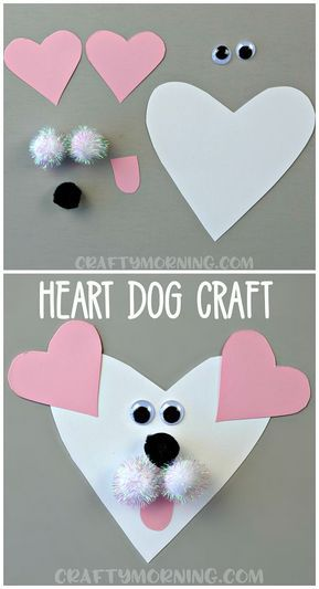 Here's an adorable heart shaped dog valentines day craft for the kids to make! Easy art project for valentines. (heart shaped animal craft)