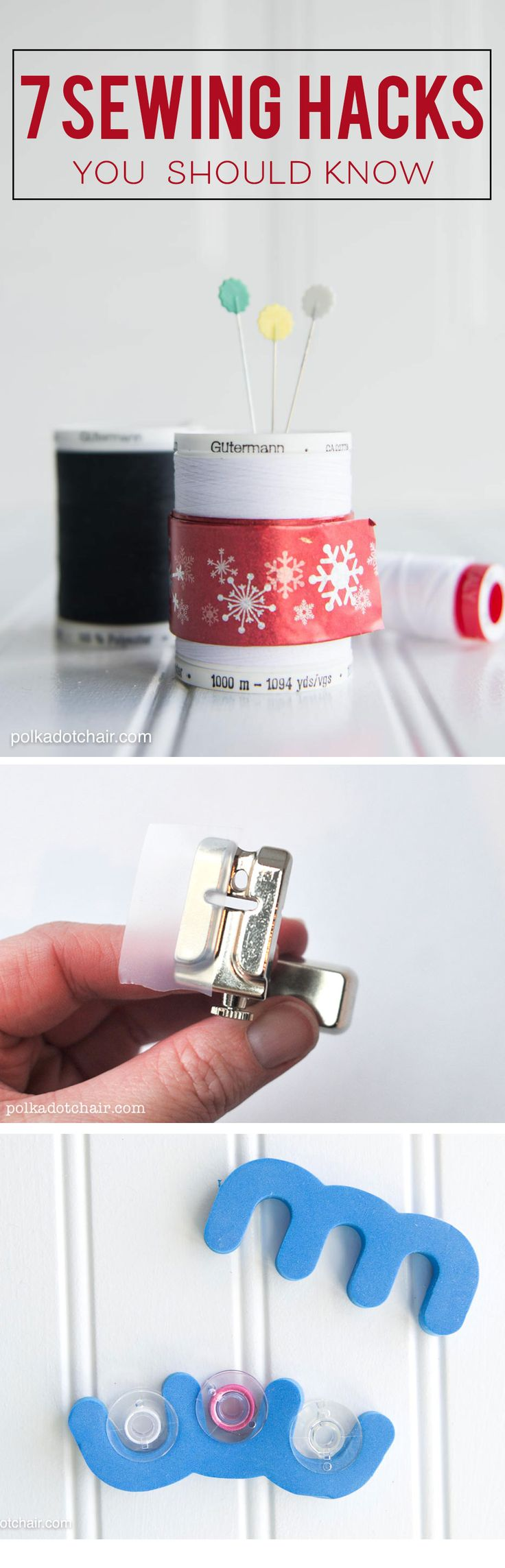7 Amazing Sewing Hacks you should know about, love the one with the slap bracelet to keep thread from coming off the spool!