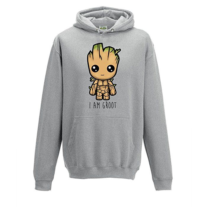 """""""I Am Groot"""" Cute Baby Groot Illustration Guardians of The Galaxy 2 GOTG Inspired GREY ADULTS HOODIE (XXL): Amazon.co.uk: Clothing"""