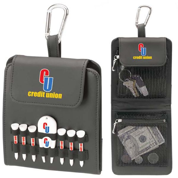 Folding golf caddy includes 6 2 1/8 tees, 1 ball marker, 1 natural unimprinted golf pencil and 1 divot repair tool in 5 1/4 x 6 1/8 x 13/16 case. All components imprinted! One set-up. Holds your scorecard and clips to your bag. Metal carabiner can be easily clipped on golf bag. Case is made of sanded PVC vinyl. Tees and pencil are made of wood. Ball marker and divot fixer are made of plastic.