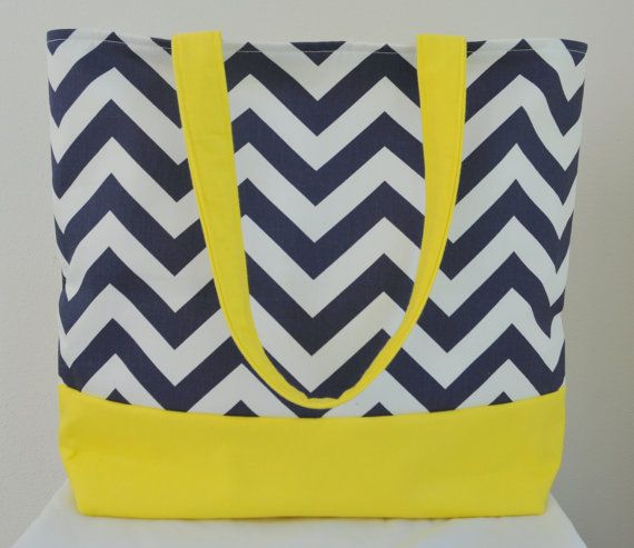 Large Nautical Tote Beach Bag Blue Zig Zag by PinkBakenBoutique, $45.00