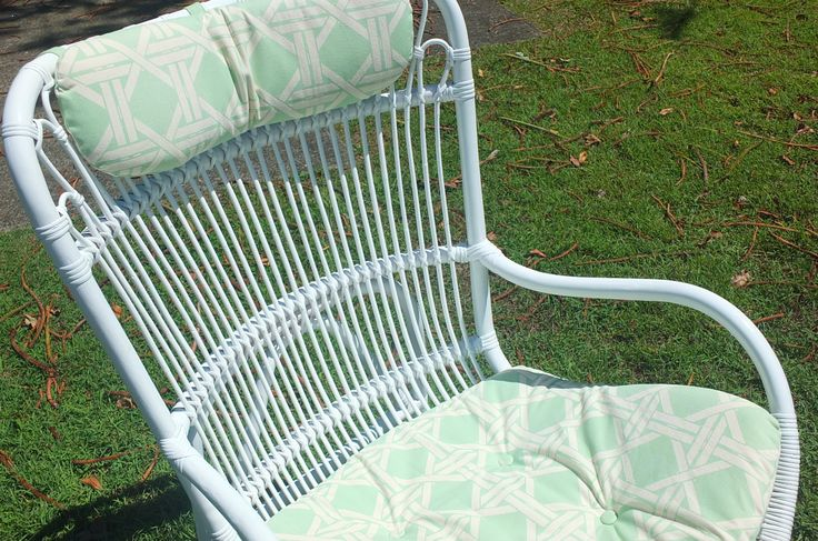 Treasured Interiors - Outdoor/Indoor chair - white with peppermint/white cushions - side table and matching chair available