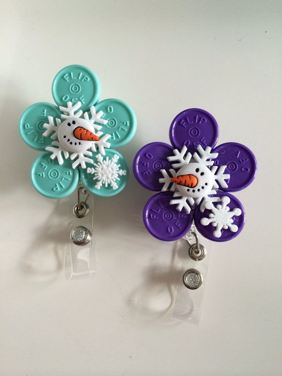 Wintery Snowman Registered Nurse  HCP ID BADGE Holder - (made from colorful medication vial caps)