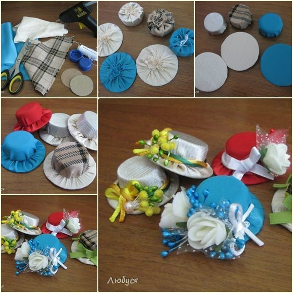 Miniature cloth hats d i y crafts and creativity for Tiny top hats for crafts