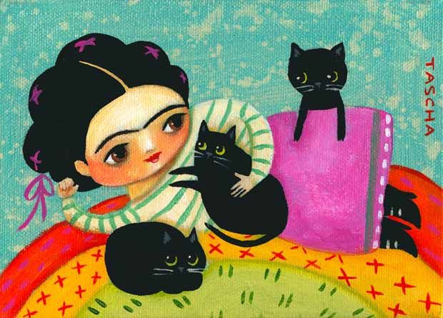 Frida Kahlo whit 3 blacks cat by Tascha Parkinson