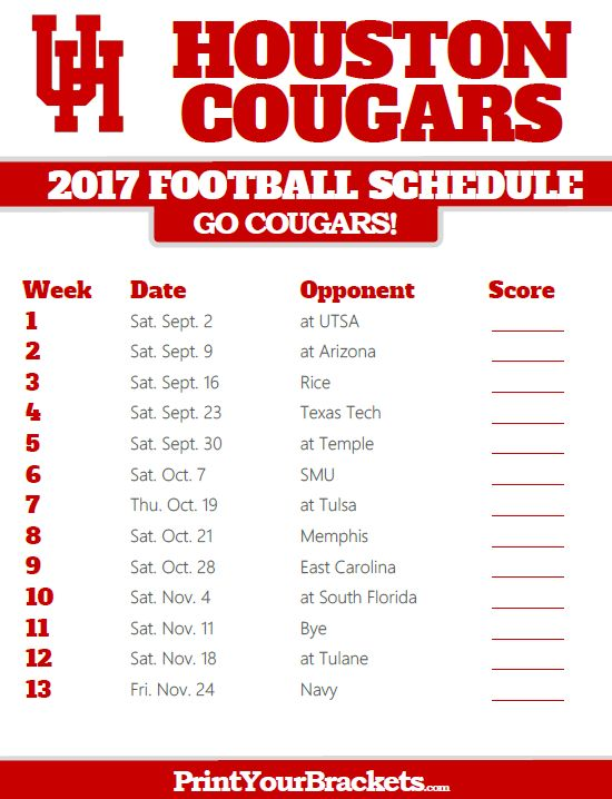 2017 Houston Cougars Football Schedule