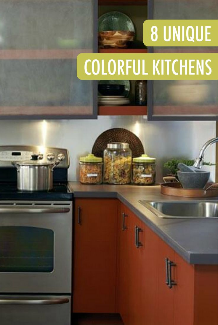 84 best colorful kitchens images on pinterest colorful kitchens sleek modern and perfect for using as inspiration in your own home these kitchen cabinets painted in airbrushed copper are truly one of a kind