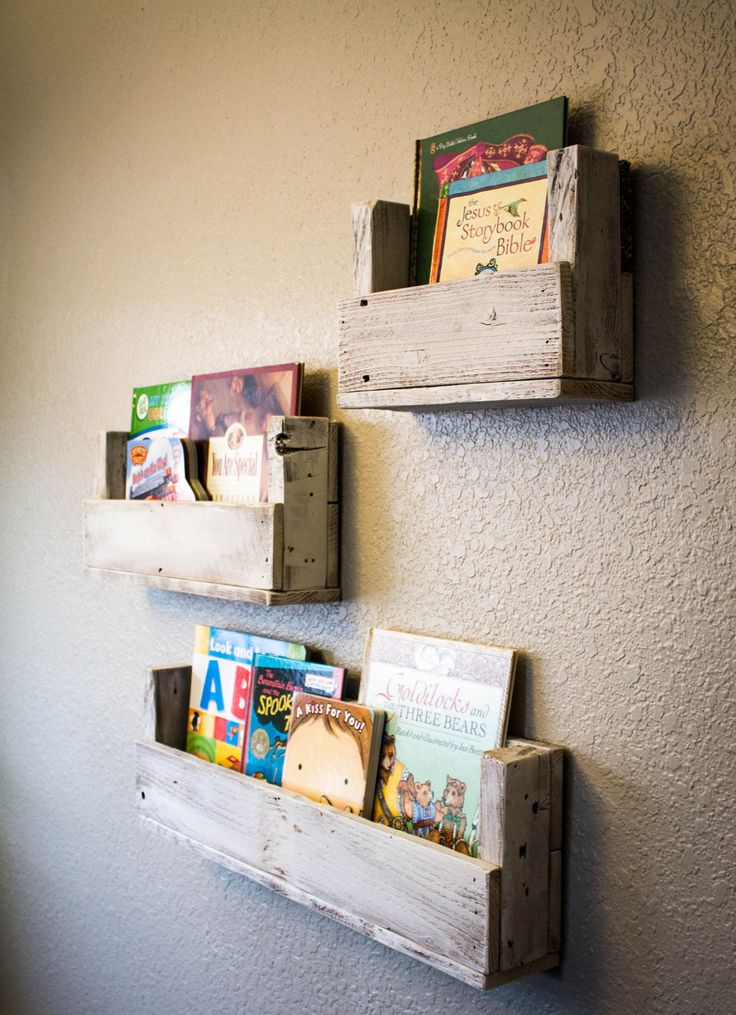 Rustic book shelves for nursery. These will be great to save floor space.