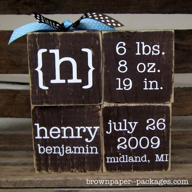 Baby birth information on blocks