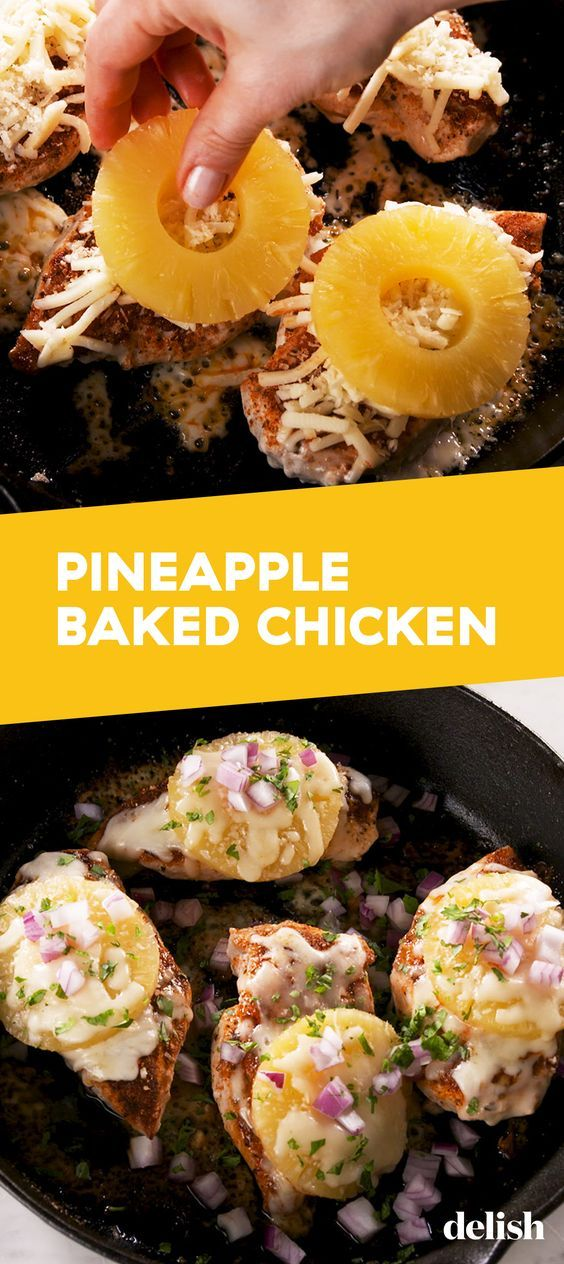 Pineapple Baked Chicken from Delish.com is a tropically cheesy experience.