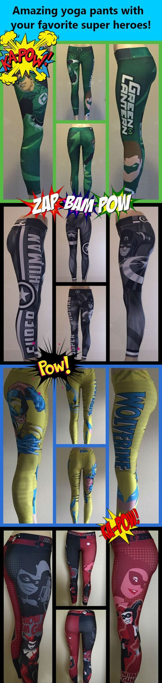 Super high quality leggings and yoga pants with all of your favorite super heroes Green Lantern, Harley Quinn, Superman, Spider-Man, Batman, Wonder Woman, The Hulk, Wolverine, Captain America, Deadpool and more!