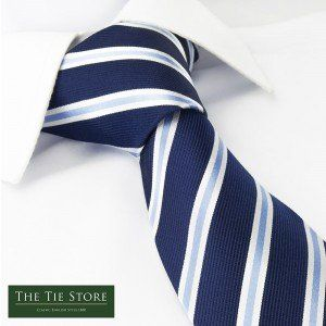 200 kr. Navy With White and Blue Stripes Silk Tie The Cufflink Store…