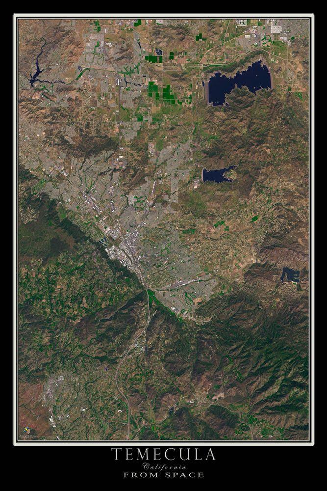Temecula California Satellite Poster Map 44 best