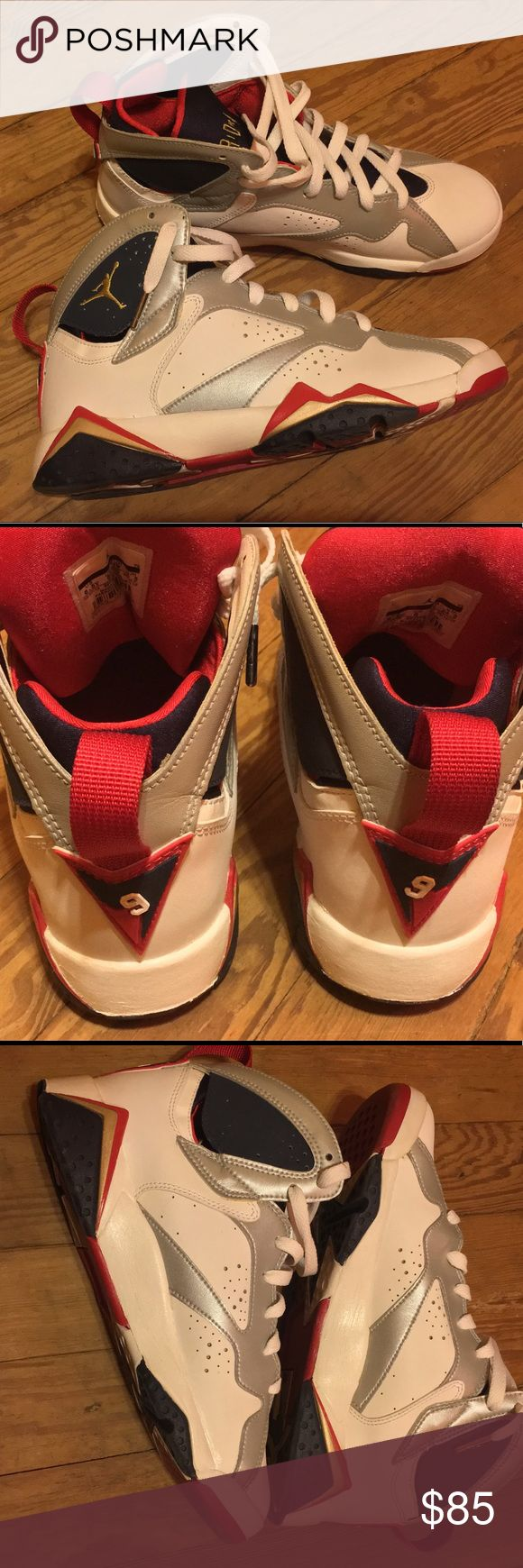 Jordan Retro 7 Olympic (2012 Release) Womens 8.5 These Jordan Retro 7s are fitted in gradeschool size 6.5Y; they're unisex shoes for boys and girls. These shoes are in great condition however there is cracking around the bottom of the shoe (the cracking is only noticeable up close) due to white shoe polish that was applied to them. The overall structure of the shoes are in excellent condition; there is no sole seperation, creasing etc.The condition of the shoes in the pics are the exact…