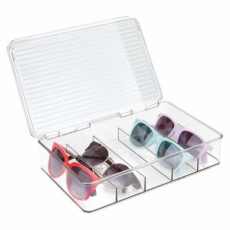 mDesign Stacking Eyeglass Storage Organizer Box, 5 Sections, Cream/Clear, x x Pack of 2 Smart Storage, Storage Organization, Storage Spaces, Organizer Box, Sunglasses Storage, Ideas Para Organizar, Small Space Living, Steel Metal, Reading Glasses