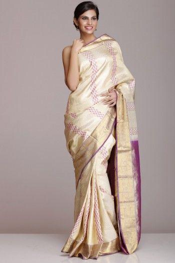 Cream Kanjeevaram Pure Silk Saree With Lavender Pallu With Half-Fine Gold Zari