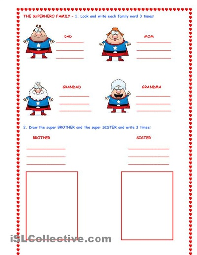 The Super Hero Family Worksheet Islcollective Com Free