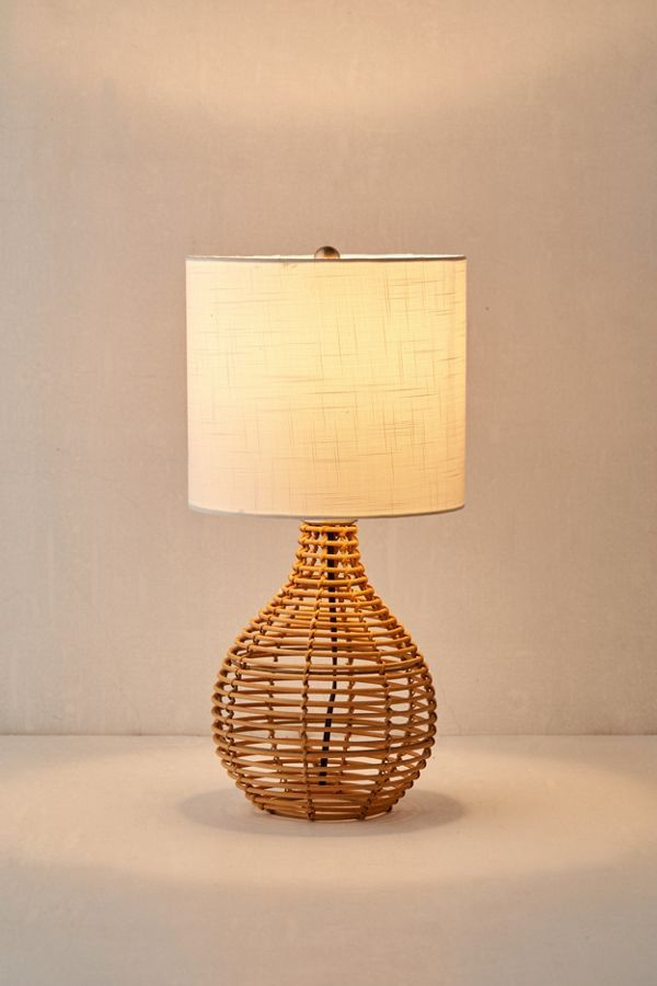 Bri Rattan Table Lamp Boho Table Lamps Vintage Table Lamp Rattan Table