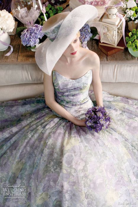 ♥♥♥Hats, Dresses Wedding, Wedding Dressses, Fashion, Floral Prints, Summer Outfit, Purple, Bridesmaid Dresses, Gowns