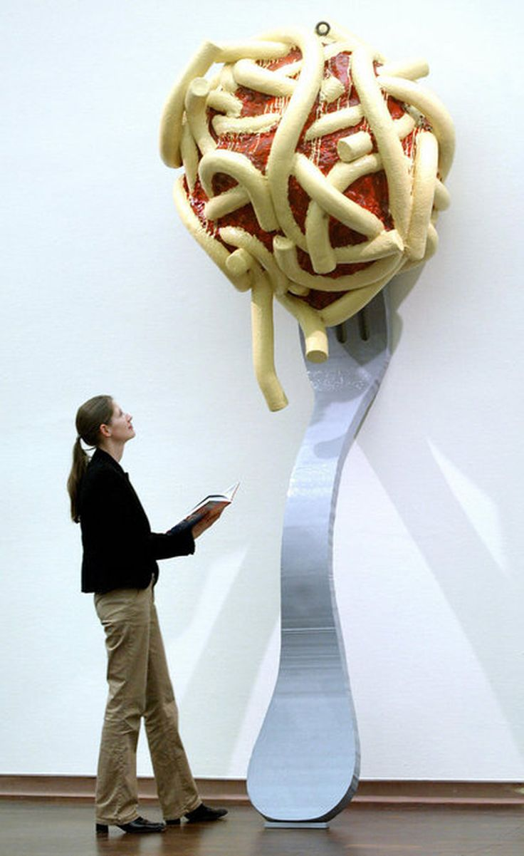 "Oldenburg's Leaning Fork with Meatball and Spaghetti II, 1994 was part of the 2004 exhibition ""Das Grosse Fressen,"" or ""Food Galore,"" in Bielefeld, Germany."