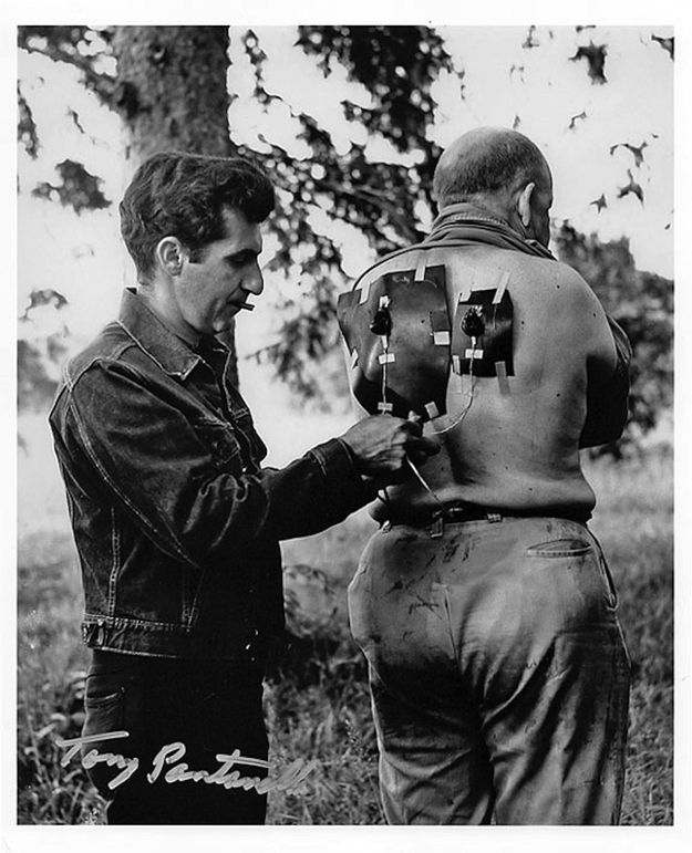 """Special effects artist, Tony Pantanella, gets a zombie ready on """"Night Of The Living Dead"""" 