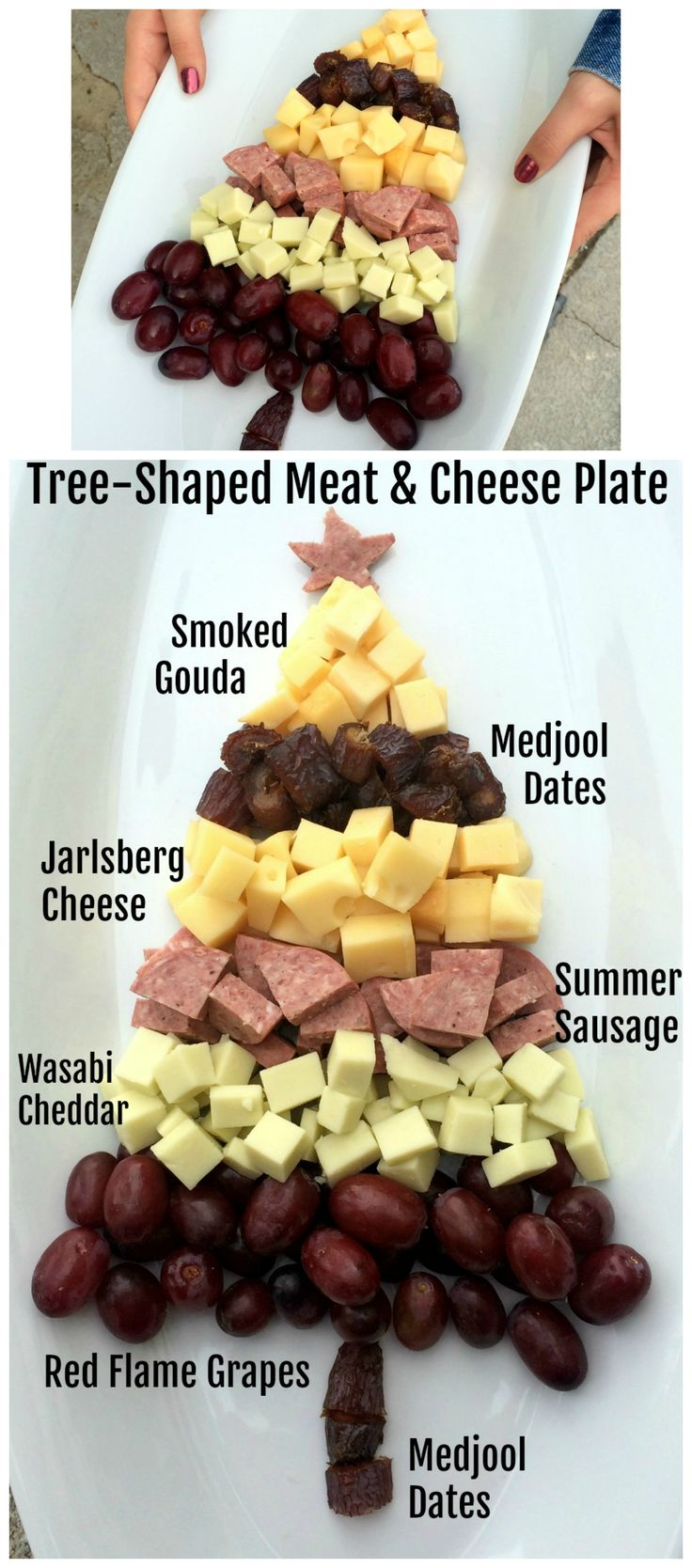 Tree-Shaped Meat and Cheese Plate: Whether for the holidays or any day, it's fun to easy to create a meat and cheese plate in the shape of a tree. Any charcuterie board is twice as festive if you *spruce* it up! (See what I did there?)  #meatandcheeseplate #charcuterieboard #appetizerplate #shockinglydelicious #holidaycheeseboard