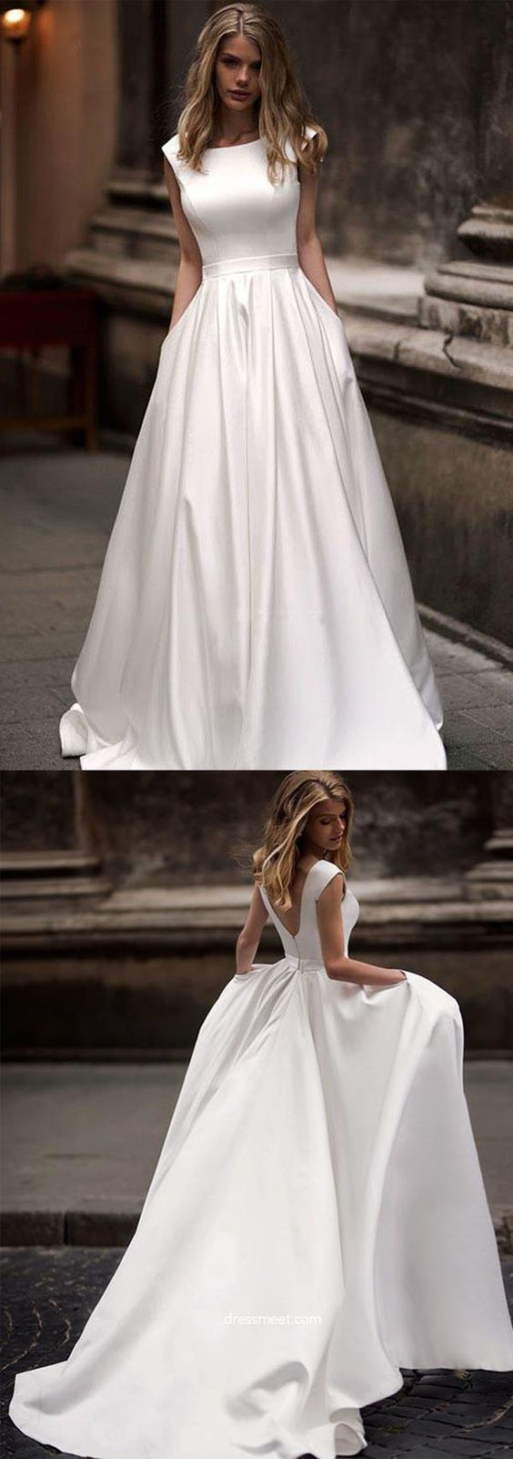 Vintage A-line Princess Ivory Satin Long Wedding Dresses with Pockets by RosyPro – Trends Ideen