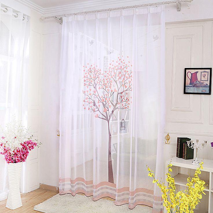 Une paire de voilages blanc motif arbre avec feuilles roses – Le Marché du Rideau