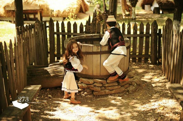 Romanian children in traditional costume