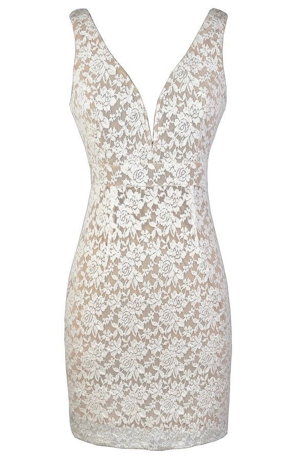 Plunging Neckline Ivory and Beige Lace Dress  www.lilyboutique.com