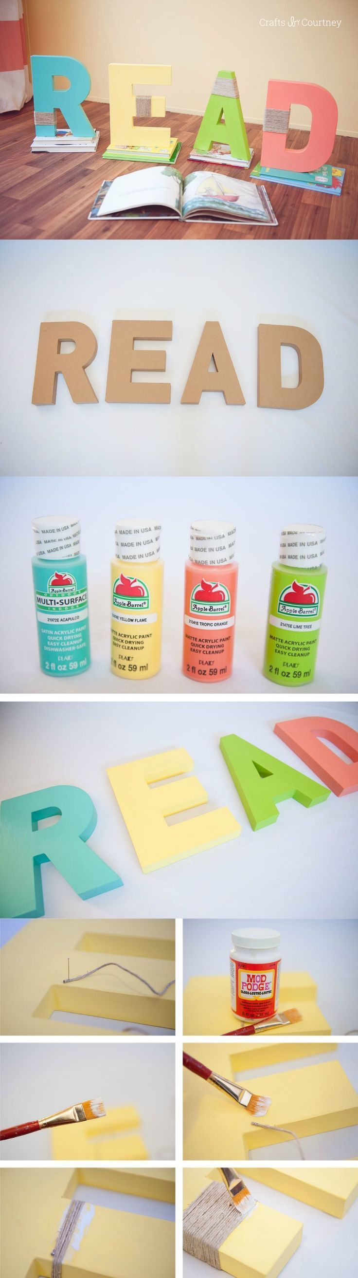 Make these colorful and unique READ letters for a kids' bedroom, book nook, library, or anywhere else that people will hang out and read!