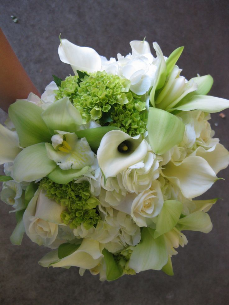 Green and white calla lily and orchid bouquet