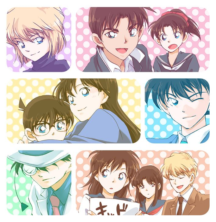 Haibara, Heiji, Kazuha, Conan, Ran, Shinichi, Kid, Aoko