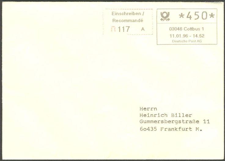 Germany, 11.01.1996,Bund, ABAS 1/=autom. Betriebsannahme-System, Cottbus/ Berliner Platz, Olivetti-Automat 1 Jahr als Betriebs-Versuch, seltener R-Brief, mit autom. ATM-Eindruck, mit Gebühren-Quittung und Aufgabeschein. Price Estimate (8/2016): 15 EUR.