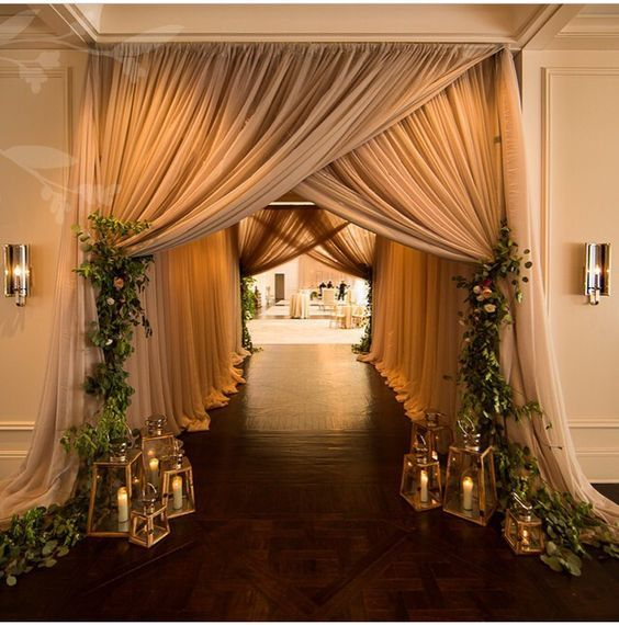 rustic indoor wedding aisle decor / http://www.deerpearlflowers.com/wedding-entrance-walkway-decor-ideas/