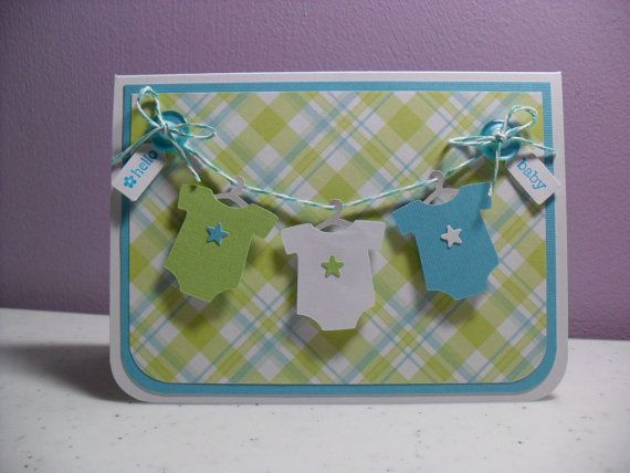 Handmade Baby Card  Hello Baby Onesies Card  by GGgreetings, $3.75