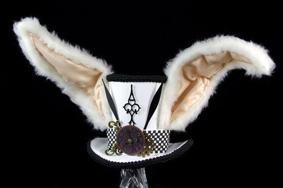 The White Rabbit –Black and White Clockwork Bunny Eared Mini Top Hat Fascinator, Alice in Wonderland Mad Hatter Tea Party, Steampunk Cosplay...