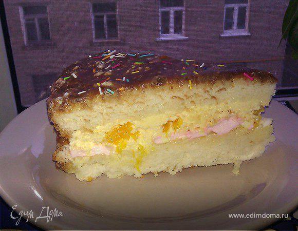 Зефирно-апельсиновый торт. Ингредиенты: сахар, мука, сметана