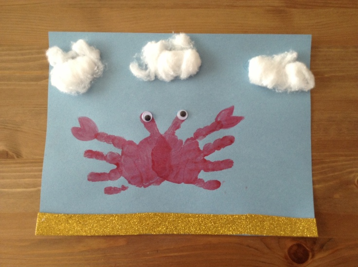 Crab craft with clouds- perfect for practicing /k/ sounds