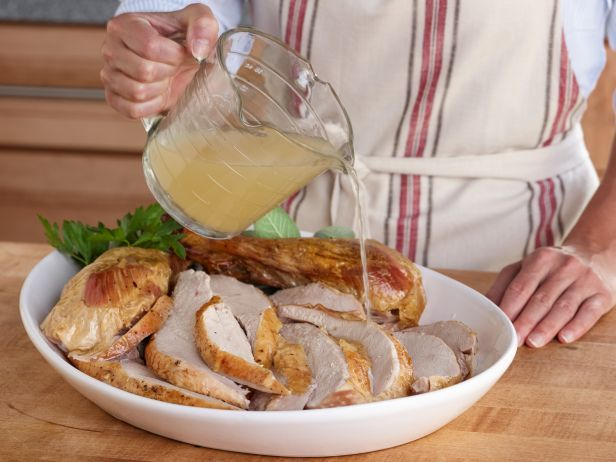 Chicken Broth as a Turkey Reviver : Overcooked the bird? Before you spirit that platter of dried-out breast meat to the table, drizzle it with a little warm chicken broth. It'll help moisten the meat and add flavor. This is also a good trick for perking up slices that have gone from room temp to cold.